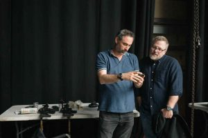 Alex Garland and Jeff VanderMeer on the set of Annihilation from Paramount Pictures and Skydance.