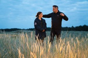 Natalie Portman and Director Alex Garland on the set of Annihilation from Paramount Pictures and Skydance.