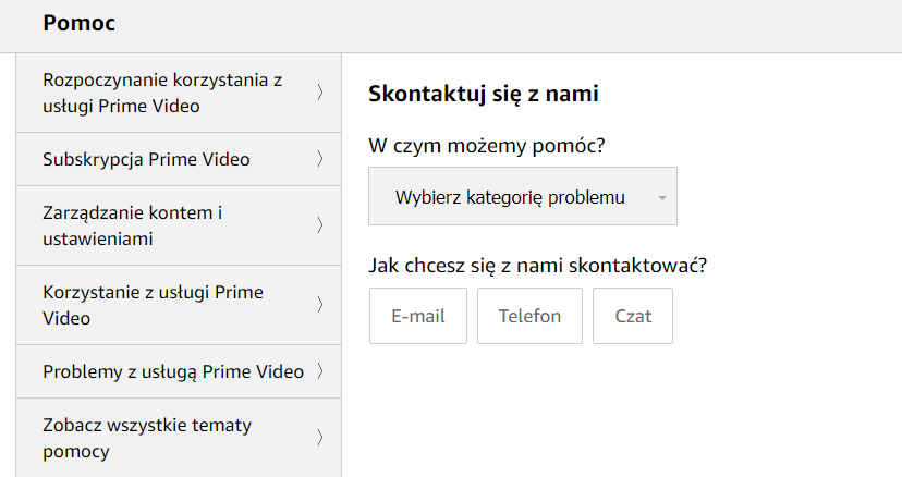 amazon prime video po polsku-kontakt